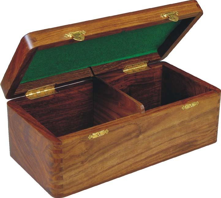 Golden Rosewood Hinged Box With Teak Top (Above Image)